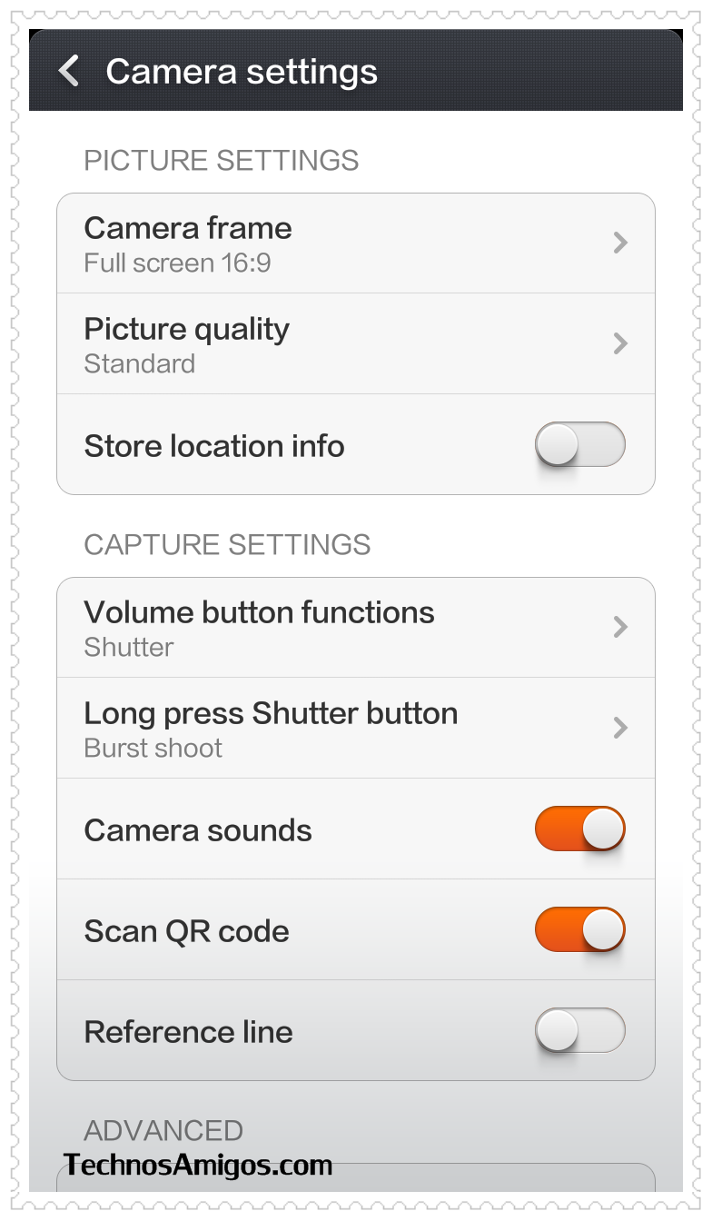 Redmi 1S Camera Settings