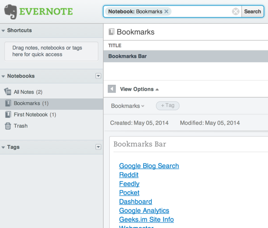 EverNote Bookmarks