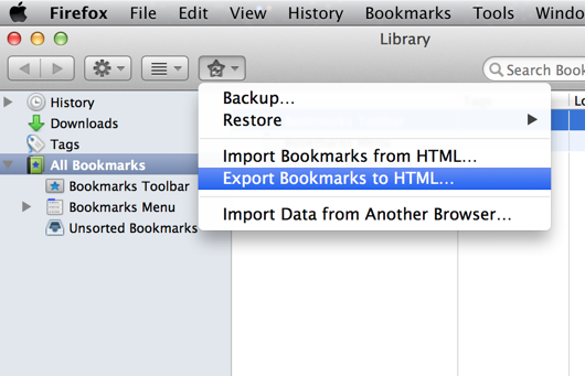 Export Bookmarks