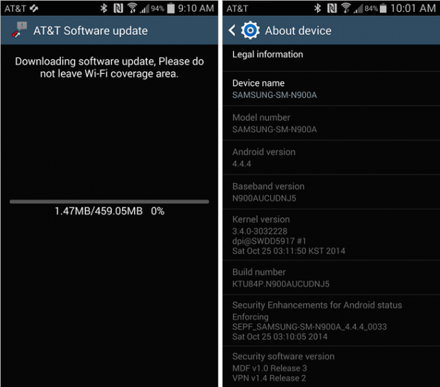 Galaxy Note 3 Kitkat Update