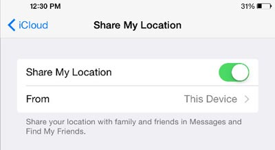 ioS 8 location sharing