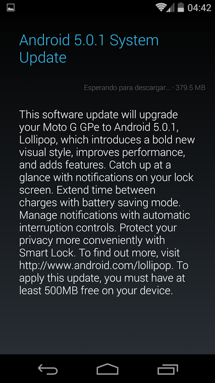 Android 5.0.1 Moto G