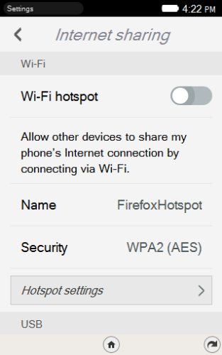 Firefox OS WiFi tethering