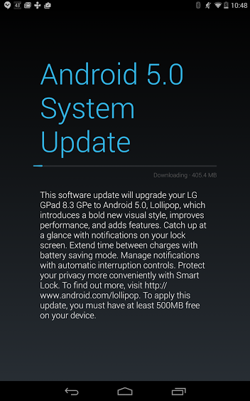 LG G Pad 8.3 Lollipop Update