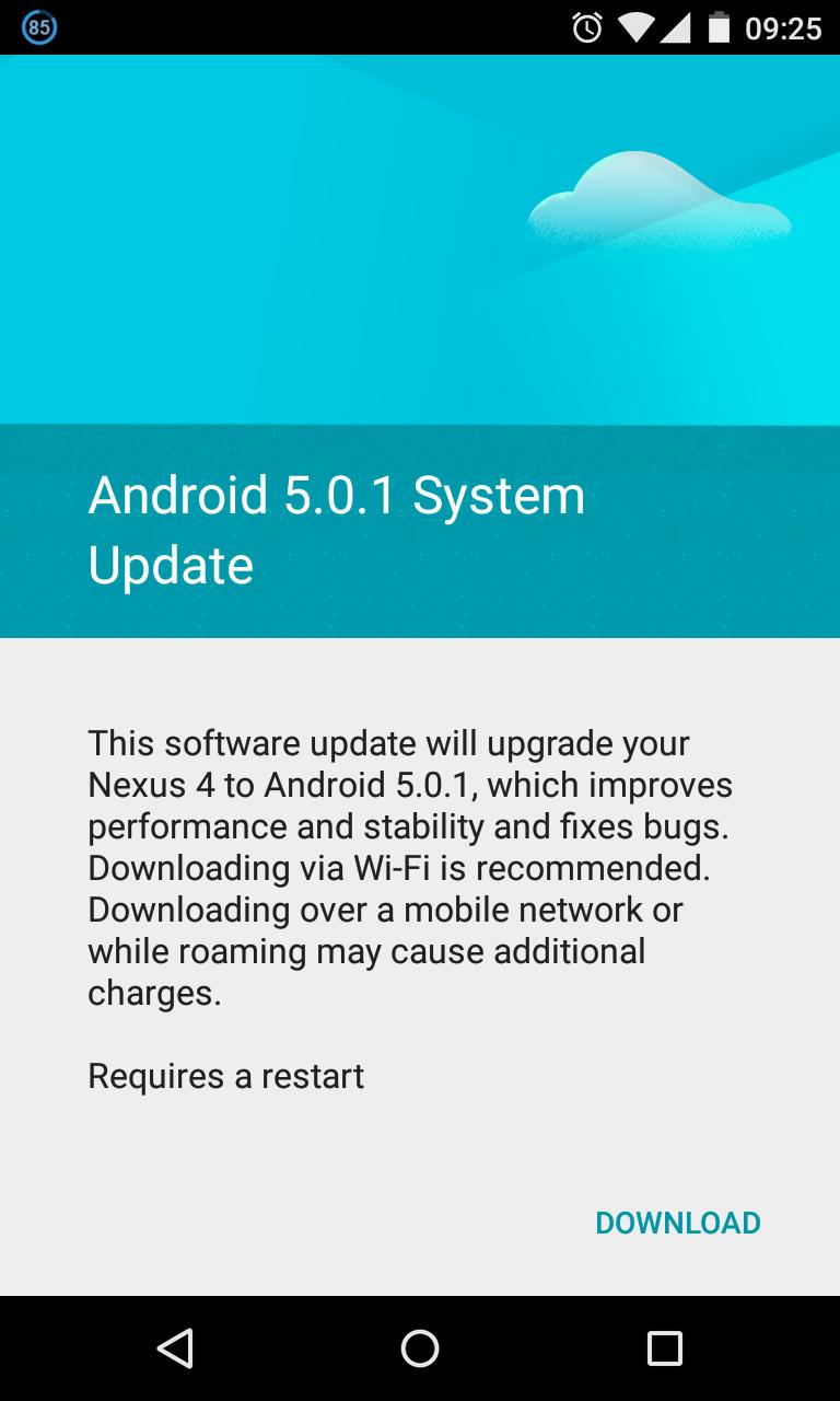 Nexus 4 Android 5.0.1
