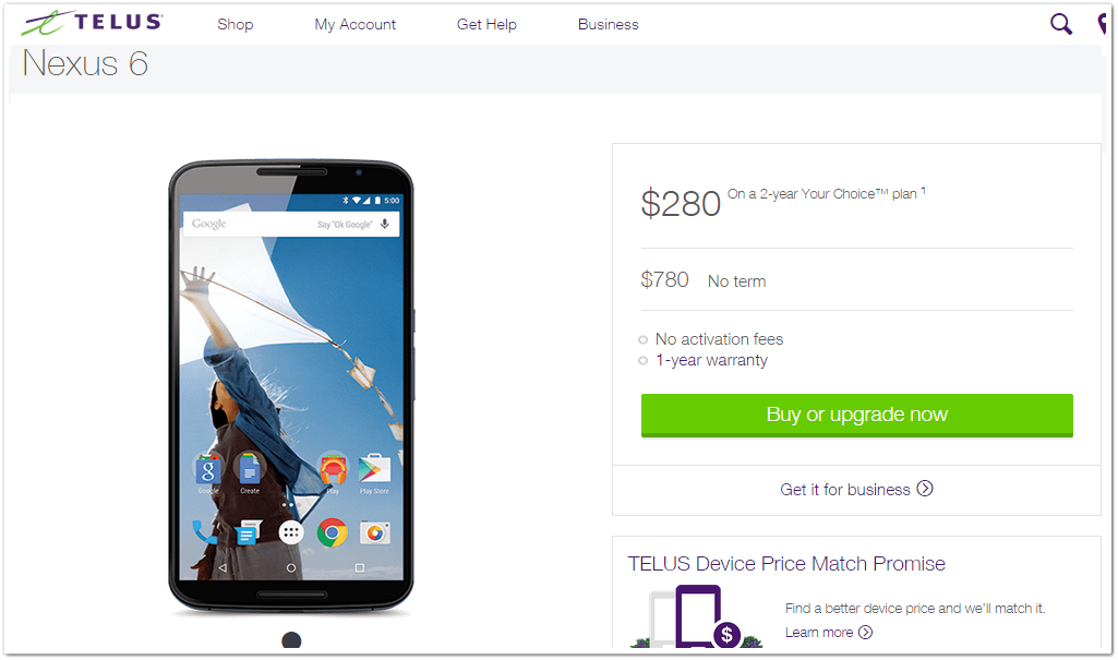 Nexus 6 by Telus