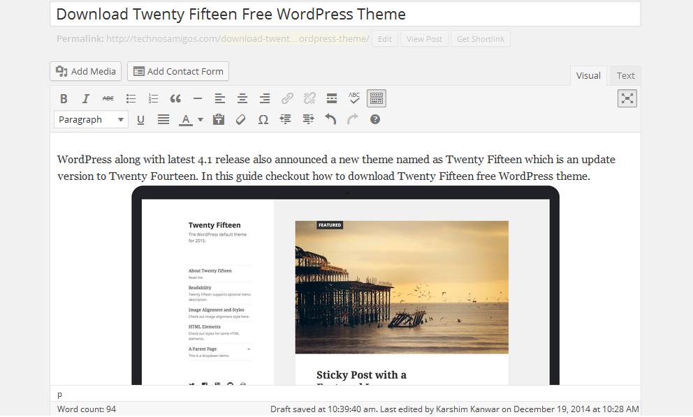 WordPress 4.1 Writing Mode