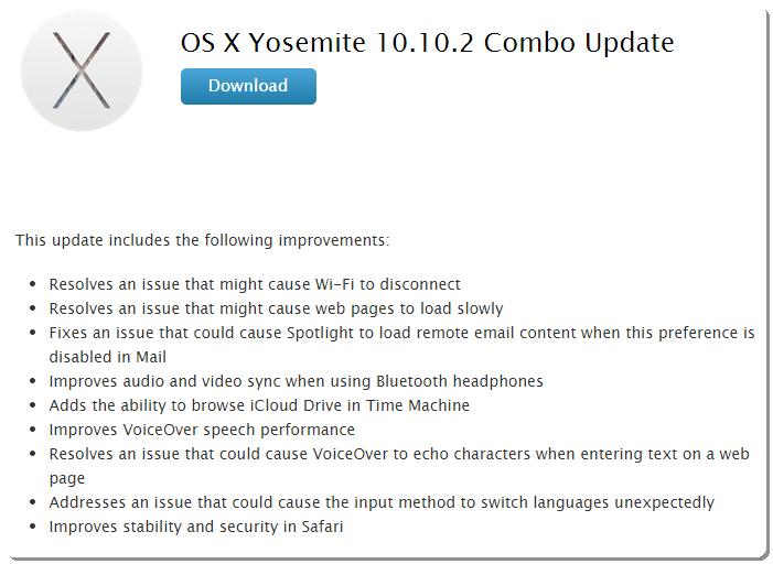 OS X Yosemite 10.10.2 Update