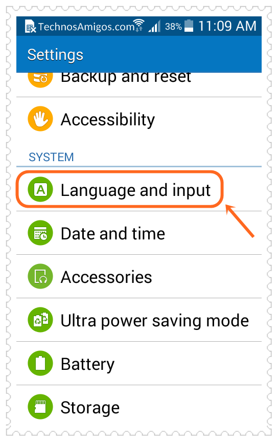 Change language on Samsung Android