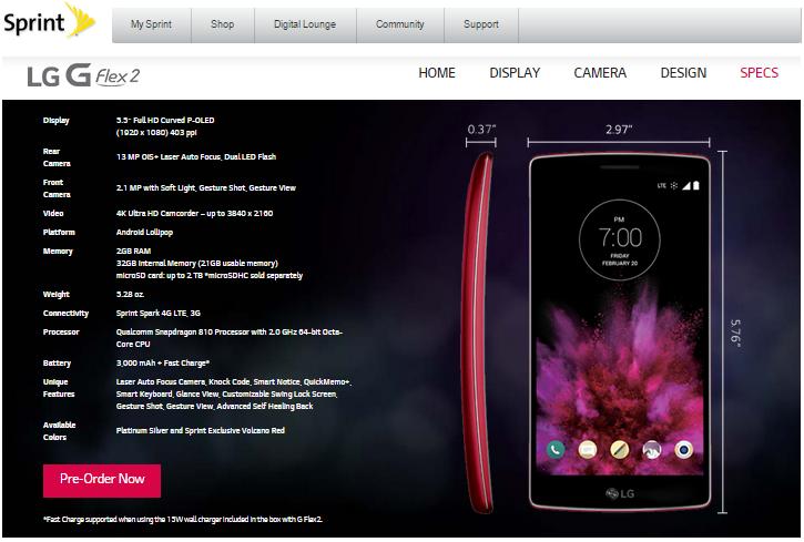 Sprint LG G Flex 2 Phone