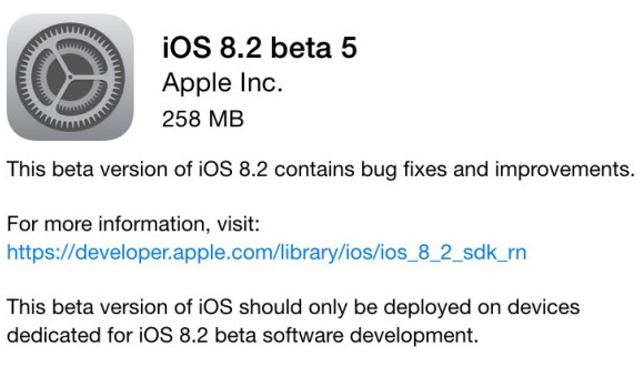 Apple iOS 8.2 Beta 5 Available for Developers