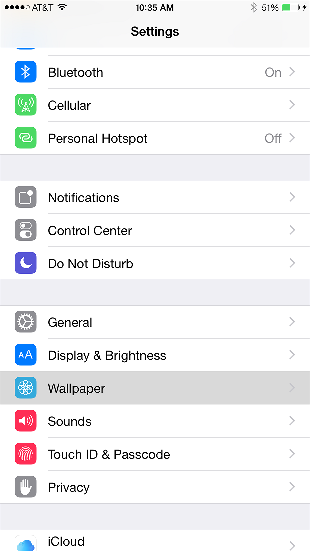 iPhone Settings Menu