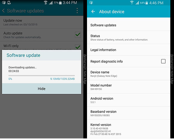 Galaxy Note Edge Android 5.0.1