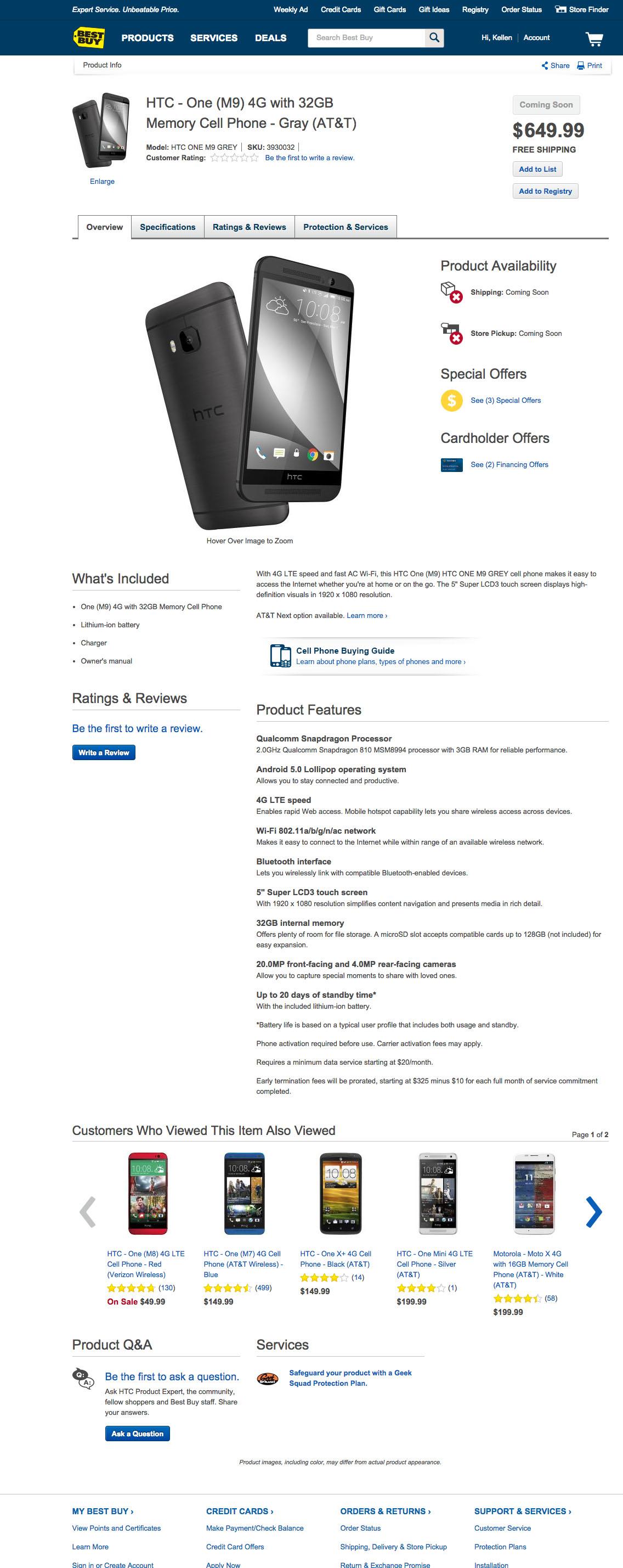 HTC One M9 Best Buy
