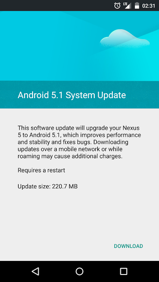 Nexus 5 Android 5.1 Update