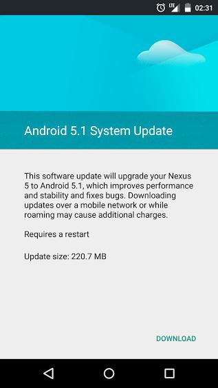 Nexus 5 Android 5.1 Update