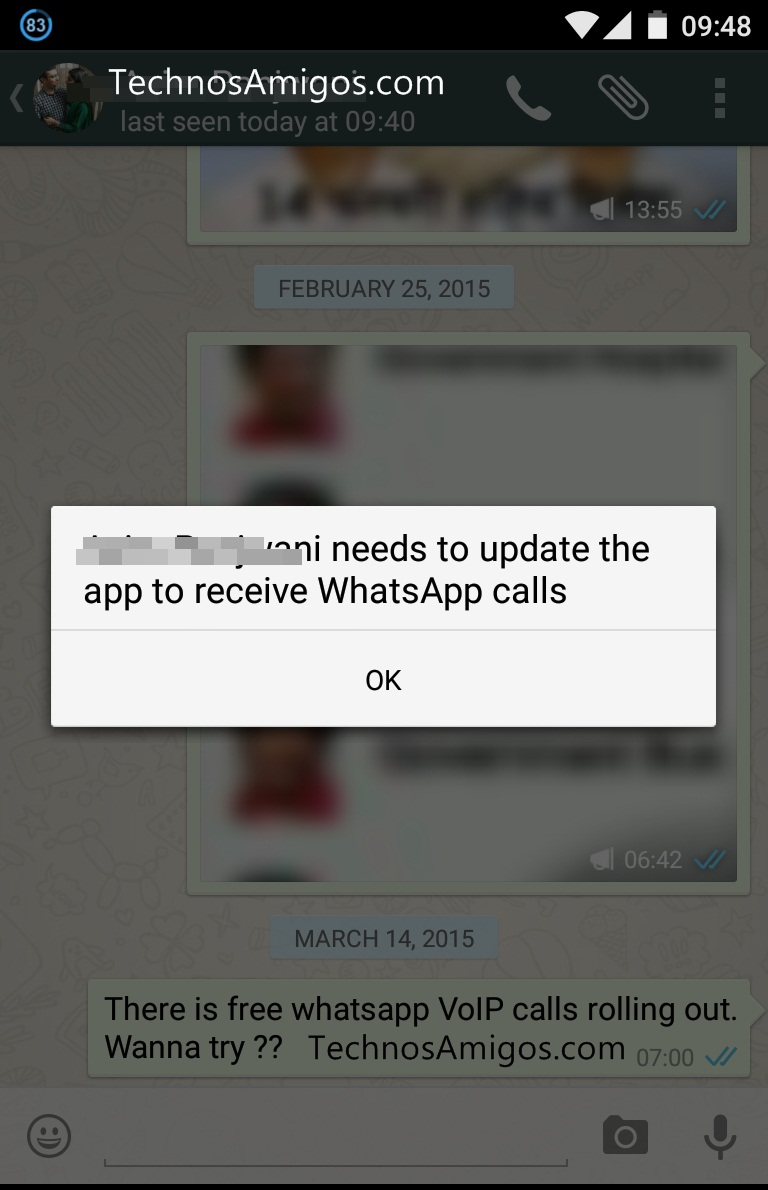 WhatsApp Call Error