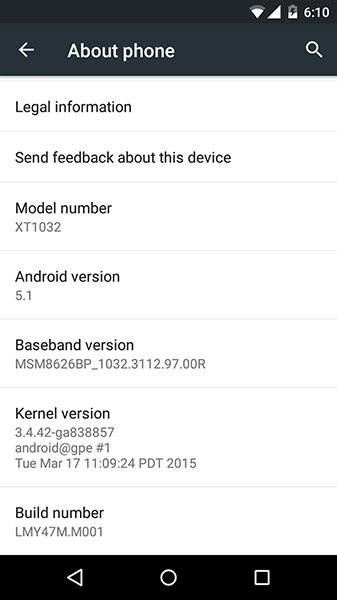 Moto G Android 5.1 Update
