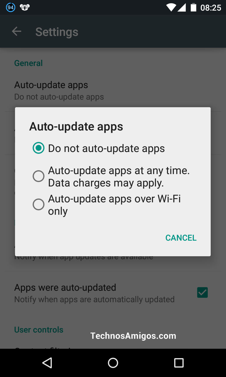 Play Store - Auto Update App Settings