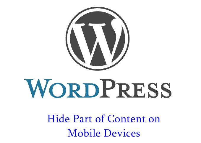 WordPress Mobile - Hide Some Content