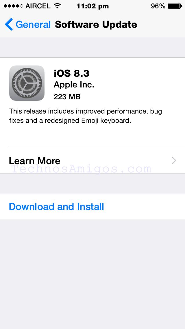 iOS 8.3 update