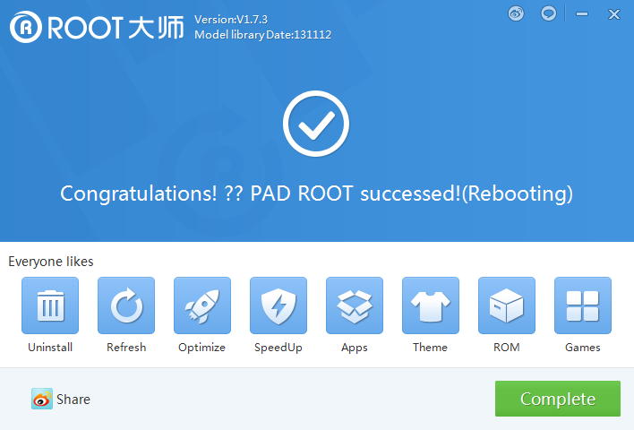 root completed