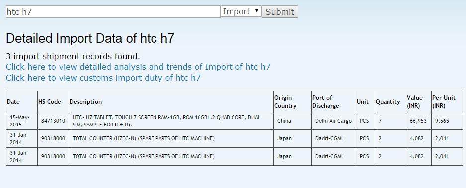 HTC H7 Import