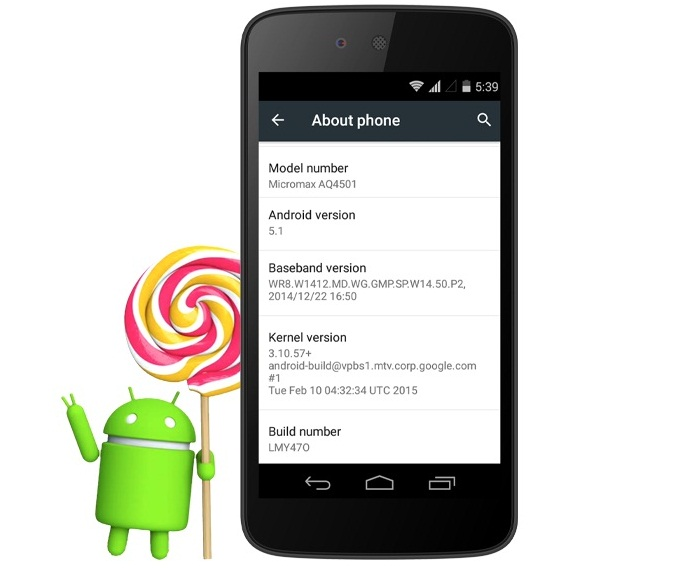 Micromax Canvas A1 Android 5.1 Update