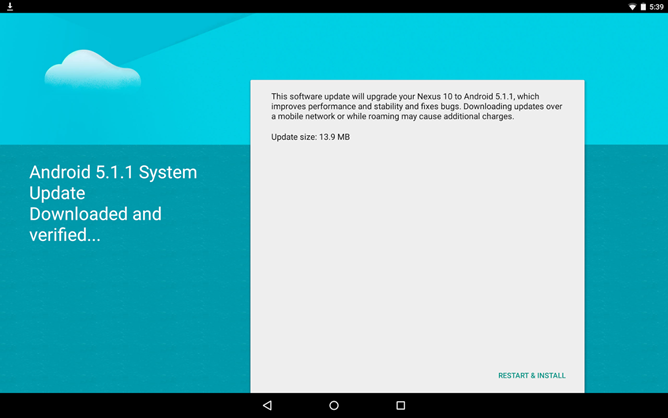 Nexus 10 Android 5.1.1 update