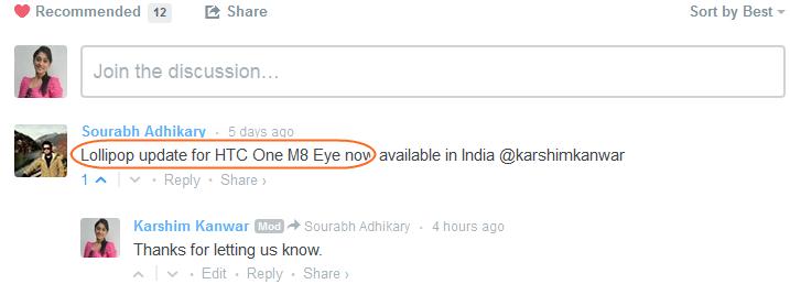 One M8 Eye Lollipop Update