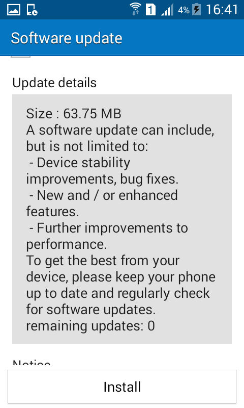 Galaxy J1 Software Update