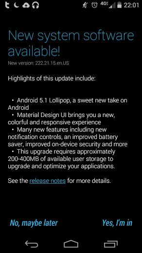 Moto X 2013 Lollipop Update