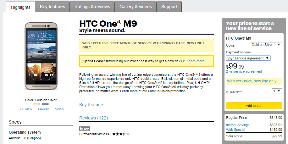 Sprint HTC One M9