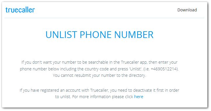 TrueCaller Remove Number