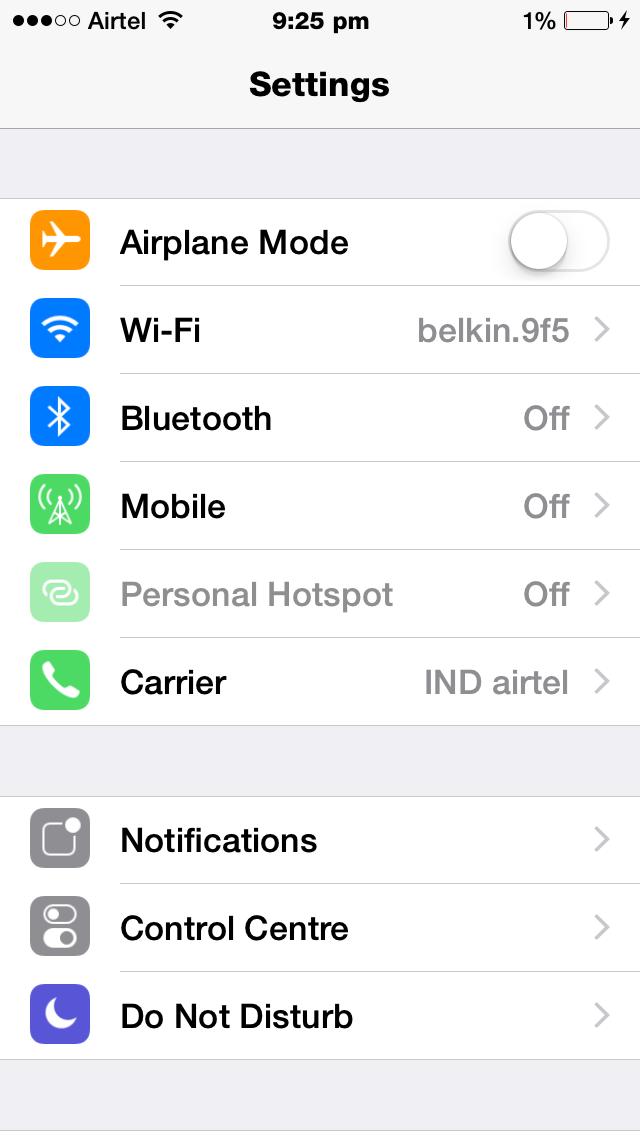 iPhone Setting Menu