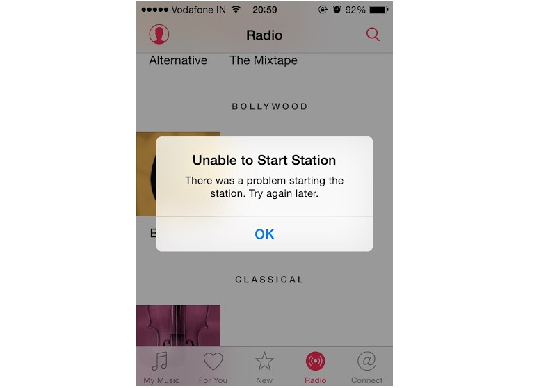 Apple Music Radio Error