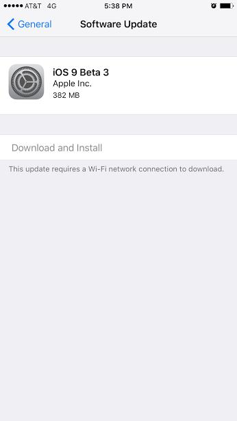iOS 9 Beta 3 OTA