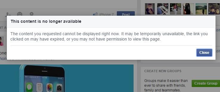 Facebook Group Error