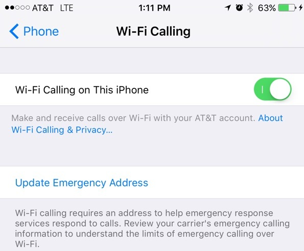 WiFi Calling Option on iPhone