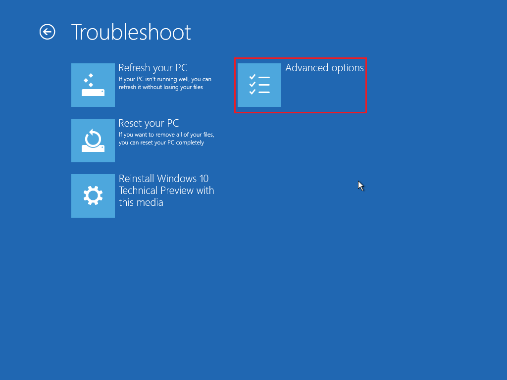 Windows 10 Advanced Options