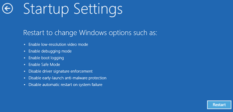 Windows 10 Restart Option