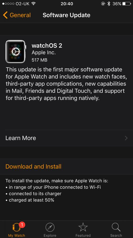 Apple Watch OS 2 Software Update