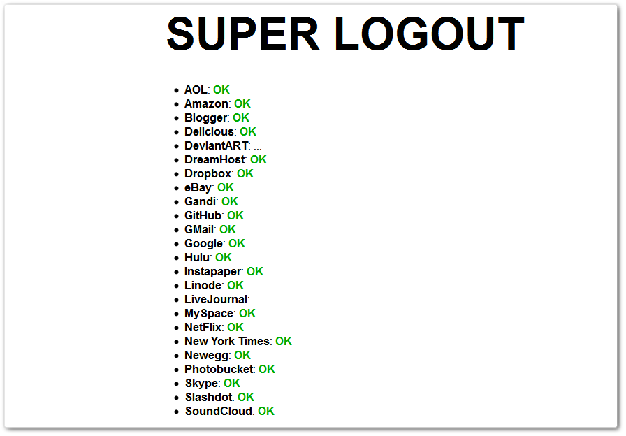 SuperLogout is One Click Log Out From 30 Major Websites