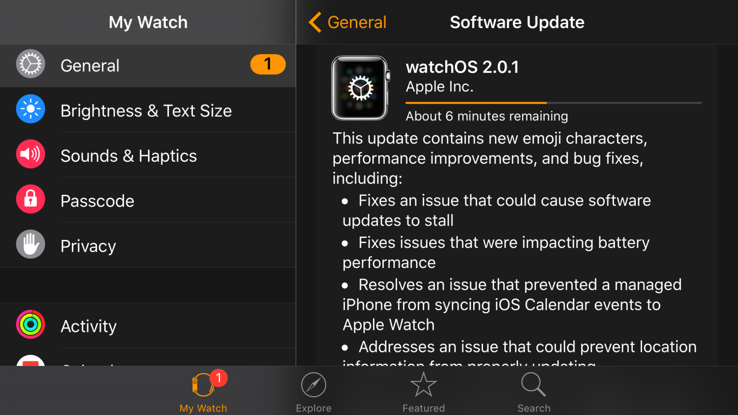 Apple WatchOS 2.0.1