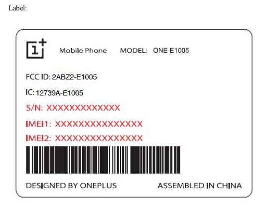 OnePlus One E1005 FCC