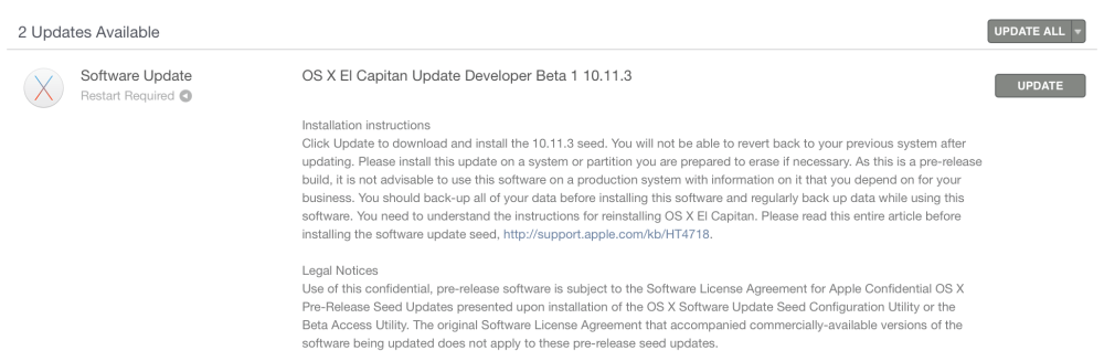 OS X El Capitan 10.11.3 Update