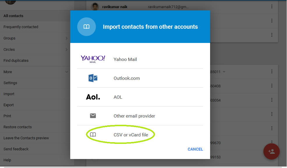 contacts backup to gmail