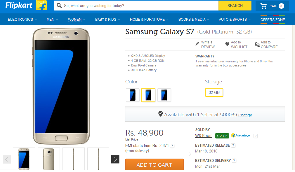 Buy Galaxy S7 in India from Flipkart, Snapdeal, Amazon