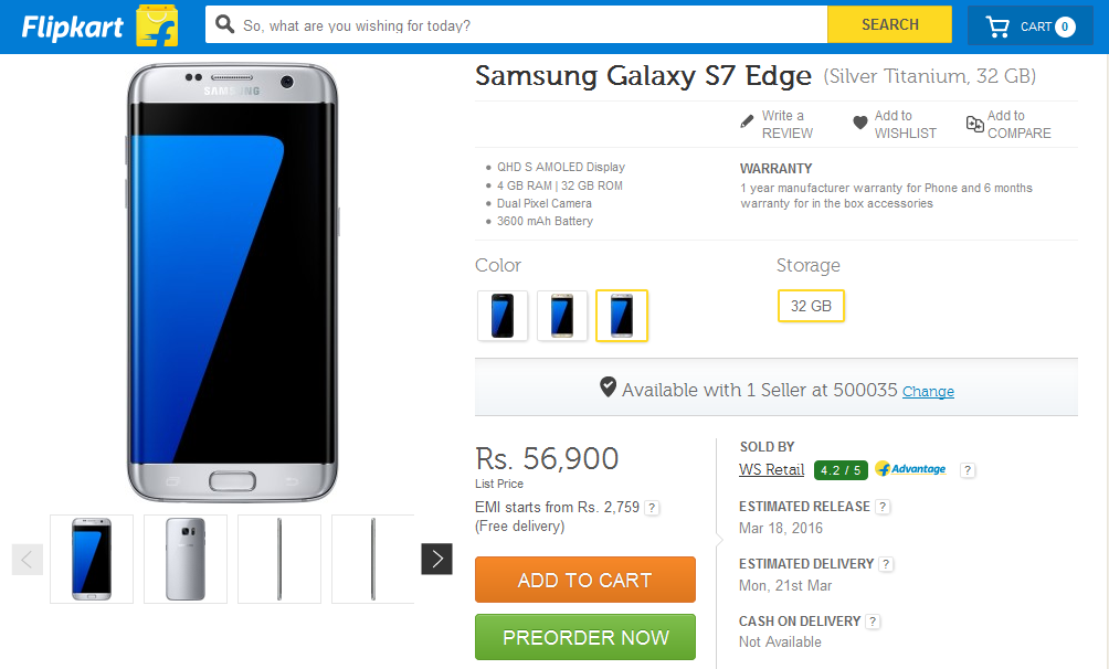 Galaxy S7 Edge Price in India
