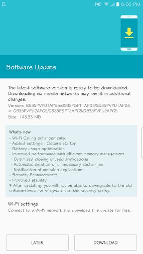 Galaxy S7 Update